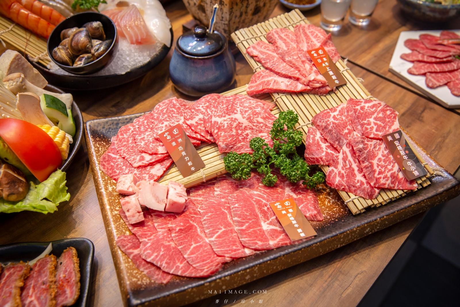台中富田和牛燒肉,點啊~哪次不點,每來必點的浮誇大份量『和牛四盛合肉盤』,不傷荷包爽爽吃,台中北屯燒肉、台中燒烤、台中頂級燒肉推薦
