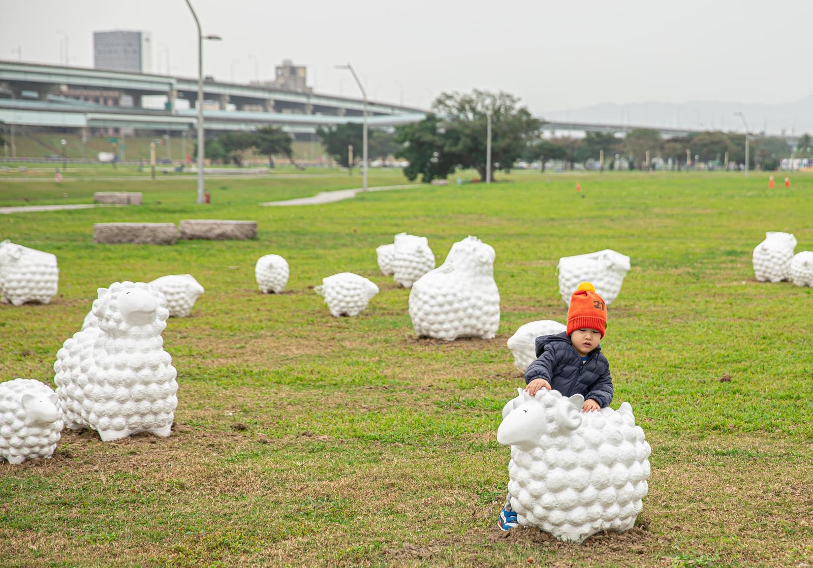 親子景點。超療癒60隻羊咩咩裝置藝術進軍新北親水公園~超夯景點絕對值得全家一起前往、機場捷運大都會公園站、捷運三重站景點